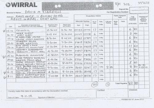 Cllr David Elderton expenses claim 2013 2014 page 6