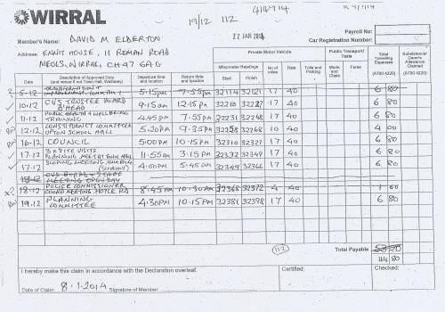 Cllr David Elderton expenses claim 2013 2014 page 8