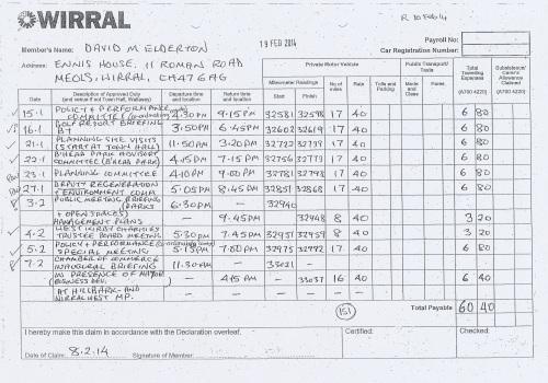 Cllr David Elderton expenses claim 2013 2014 page 9