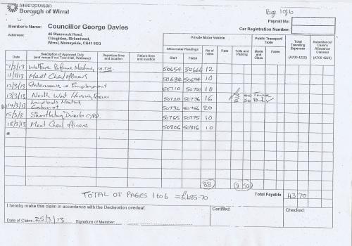 Cllr George Davies expense claim 2013 2014 page 1
