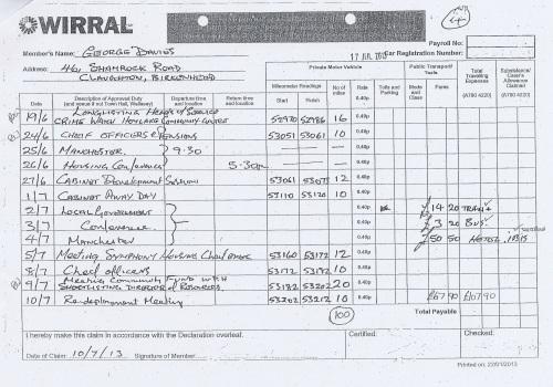 Cllr George Davies expense claim 2013 2014 page 10