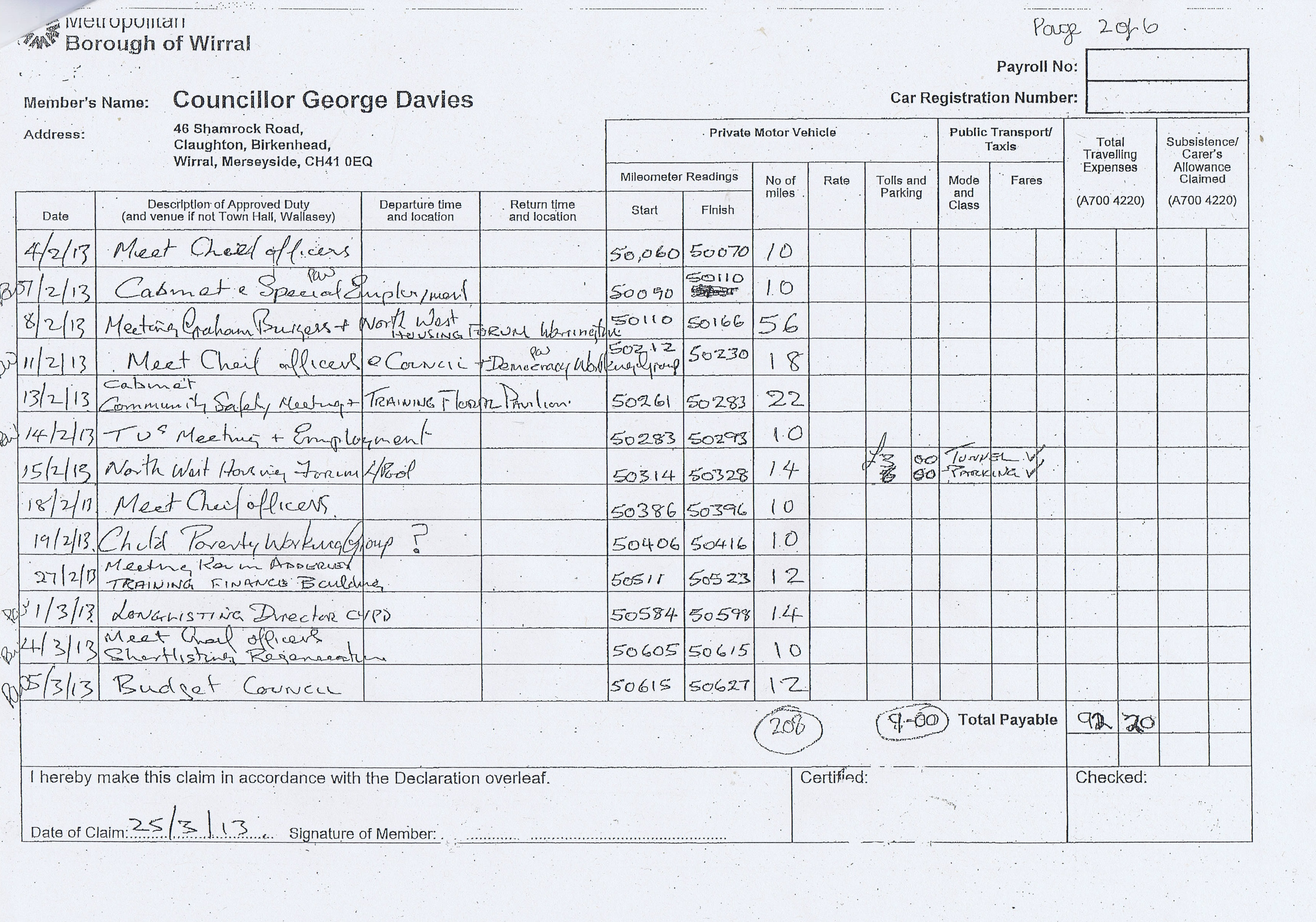 expense claim forms for councillor george davies  wirral council  2013 to 2014a blog about