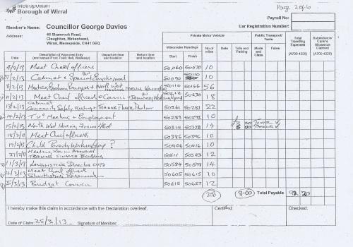 Cllr George Davies expense claim 2013 2014 page 2