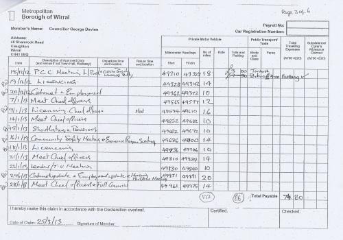 Cllr George Davies expense claim 2013 2014 page 3
