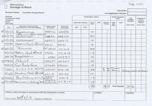 Cllr George Davies expense claim 2013 2014 page 4