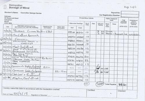 Cllr George Davies expense claim 2013 2014 page 5