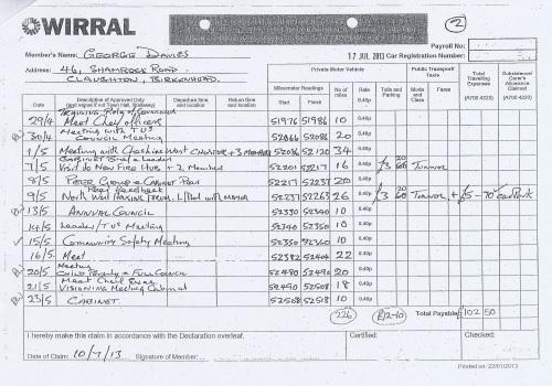 Cllr George Davies expense claim 2013 2014 page 8