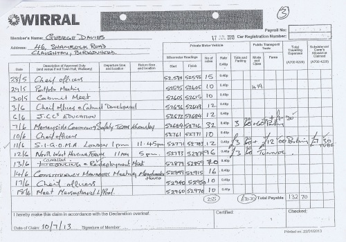 Cllr George Davies expense claim 2013 2014 page 9