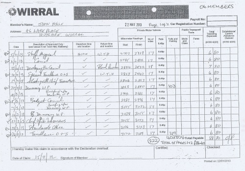Cllr John Hale expenses claim 2013 2014 page 1