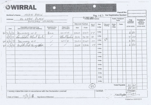 Cllr John Hale expenses claim 2013 2014 page 2