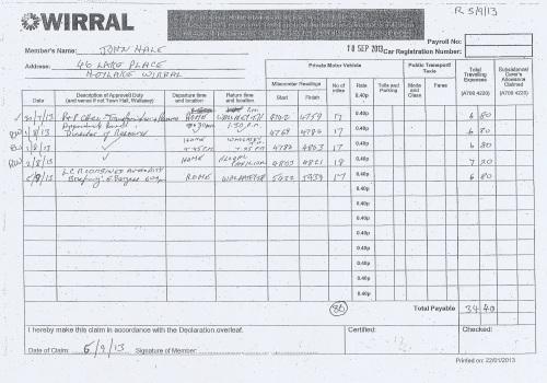 Cllr John Hale expenses claim 2013 2014 page 4
