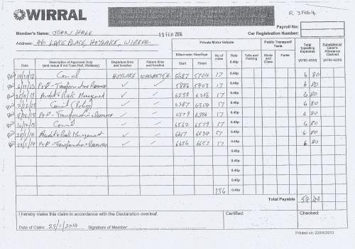 Cllr John Hale expenses claim 2013 2014 page 5