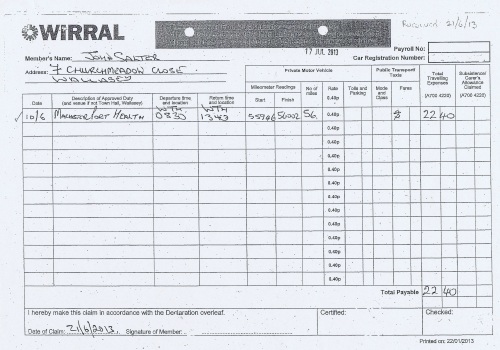 Cllr John Salter expenses claim page 1