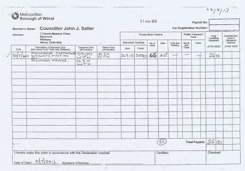 Cllr John Salter expenses claim page 2