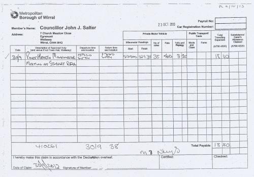 Cllr John Salter expenses claim page 3