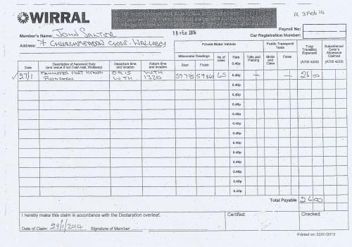 Cllr John Salter expenses claim page 5