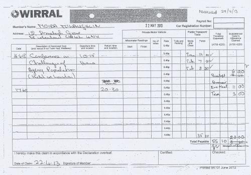 Cllr Moira McLaughlin expenses claim 2013 2014 page 1