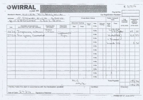 Cllr Moira McLaughlin expenses claim 2013 2014 page 2