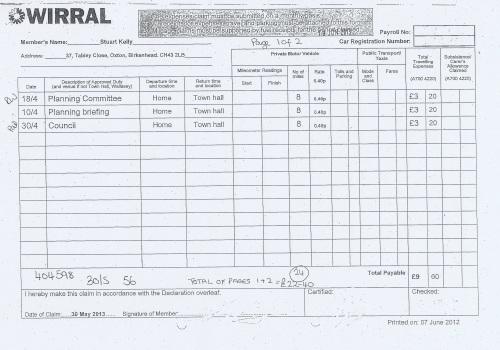 Cllr Stuart Kelly expenses claim 2013 2014 page 1