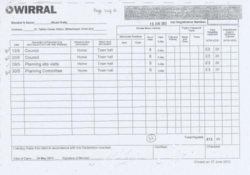 Cllr Stuart Kelly expenses claim 2013 2014 page 2