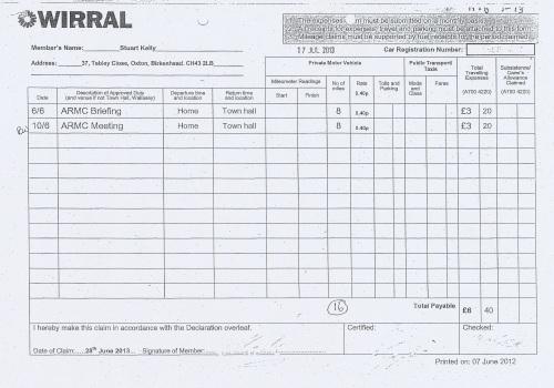 Cllr Stuart Kelly expenses claim 2013 2014 page 3