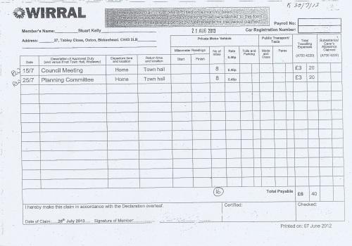 Cllr Stuart Kelly expenses claim 2013 2014 page 4