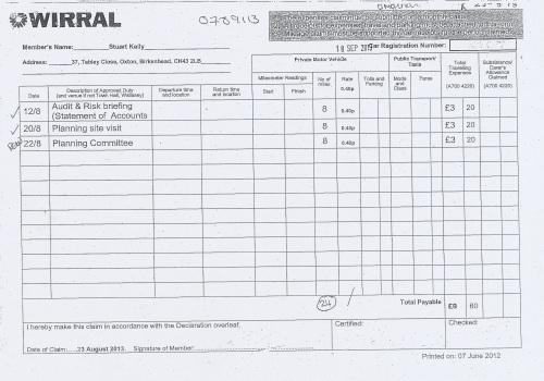 Cllr Stuart Kelly expenses claim 2013 2014 page 5