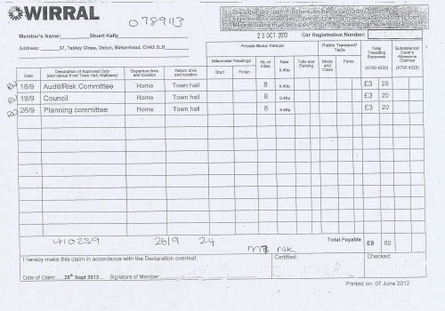 Cllr Stuart Kelly expenses claim 2013 2014 page 6