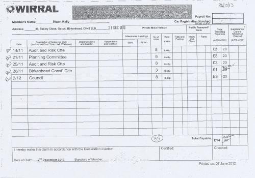 Cllr Stuart Kelly expenses claim 2013 2014 page 7