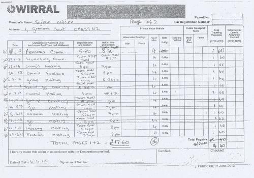 Cllr Sylvia Hodrien expenses claim 2013 page 1