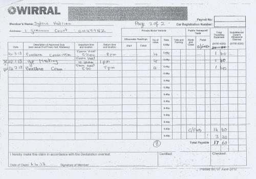 Cllr Sylvia Hodrien expenses claim 2013 page 2