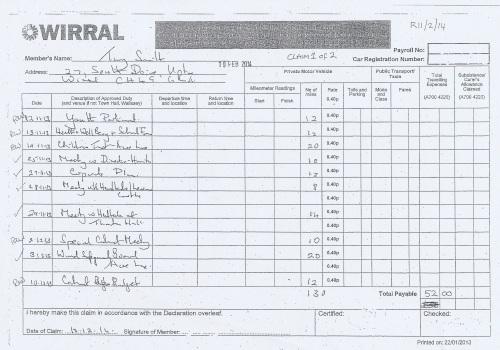 Cllr Tony Smith expenses claim 2013 2014 page 1