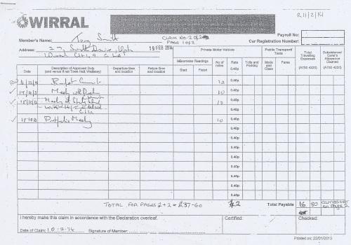 Cllr Tony Smith expenses claim 2013 2014 page 2