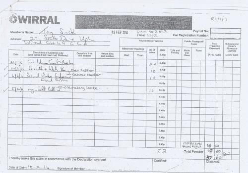 Cllr Tony Smith expenses claim 2013 2014 page 3