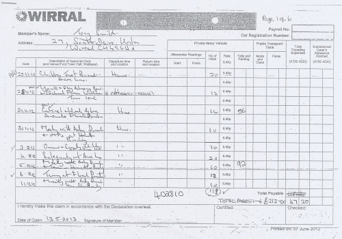 Cllr Tony Smith expenses claim 2013 2014 page 4