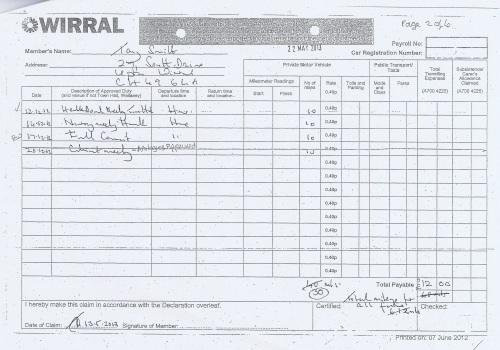 Cllr Tony Smith expenses claim 2013 2014 page 5