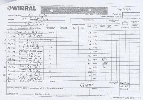 Cllr Tony Smith expenses claim 2013 2014 page 6