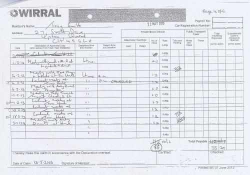 Cllr Tony Smith expenses claim 2013 2014 page 7