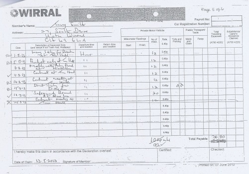 Cllr Tony Smith expenses claim 2013 2014 page 8
