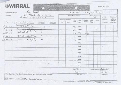 Cllr Tony Smith expenses claim 2013 2014 page 9