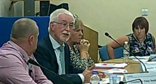 Councillor Tony Smith (Cabinet Member for Children and Family Services) at the Special Cabinet Meeting of 4th September 2014 to discuss Lyndale School L to R Cllr Stuart Whittingham, Cllr Tony Smith, Cllr Bernie Mooney and Lyndzay Roberts