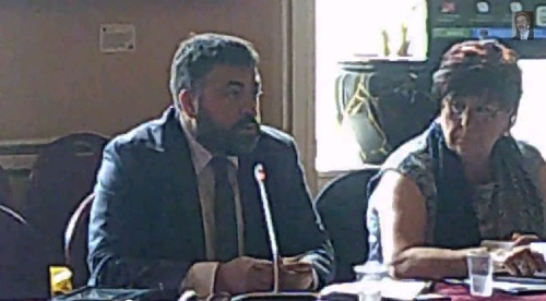Left an unknown Liverpool City Council councillor talks about filming locations at a meeting of its Constitutional Issues Committee on the 8th September 2014 Right Cllr Sharon Sullivan Labour