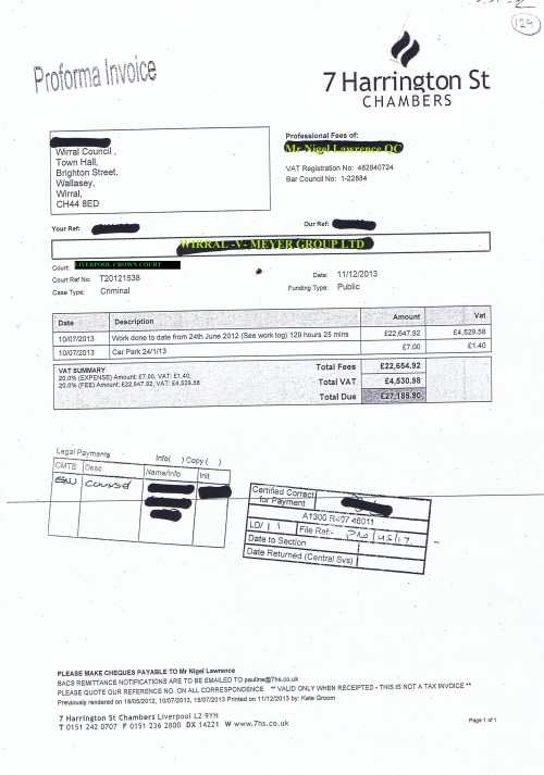 Wirral Council V Meyer Group Limited partially unredacted invoice £27,185.90 Nigel Lawrence QC Liverpool Crown Court