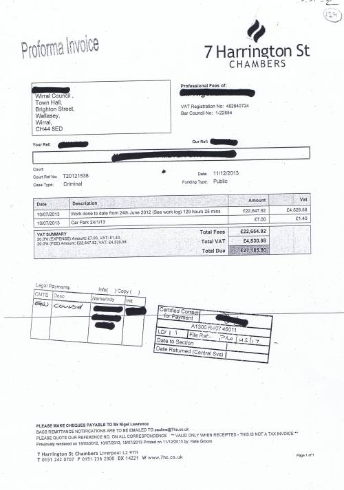 Wirral Council V Meyer Group Limited redacted invoice £27,185.90 Nigel Lawrence QC Liverpool Crown Court
