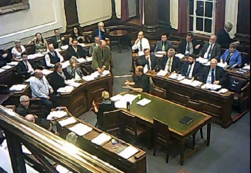 Councillor Phil Gilchrist explains his amendment on the minority report on Lyndale School to councillors, officers and the public 2nd October 2014 Council Chamber, Wallasey Town Hall (c) John Brace