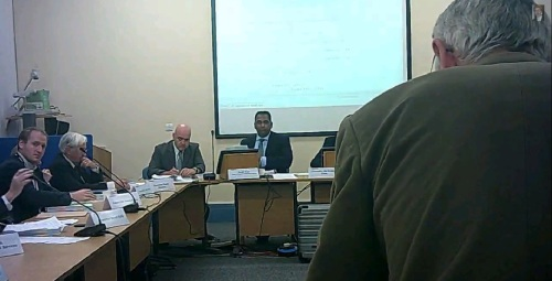Nigel Hobro (standing) addresses a special meeting of the Audit and Risk Management Committee of Wirral Council 8th October 2014 L to R Cllr Adam Sykes, Cllr David Elderton, Andrew Mossop, Surjit Tour, Nigel Hobro (c) John Brace
