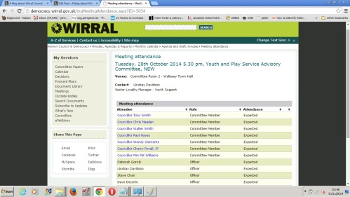 Screenshot of Wirral Council's website for Youth and Play Service Advisory Committee meeting