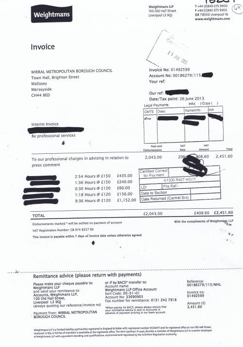 Weightmans invoice Wirral Council press comment £2451 60 26 June 2013