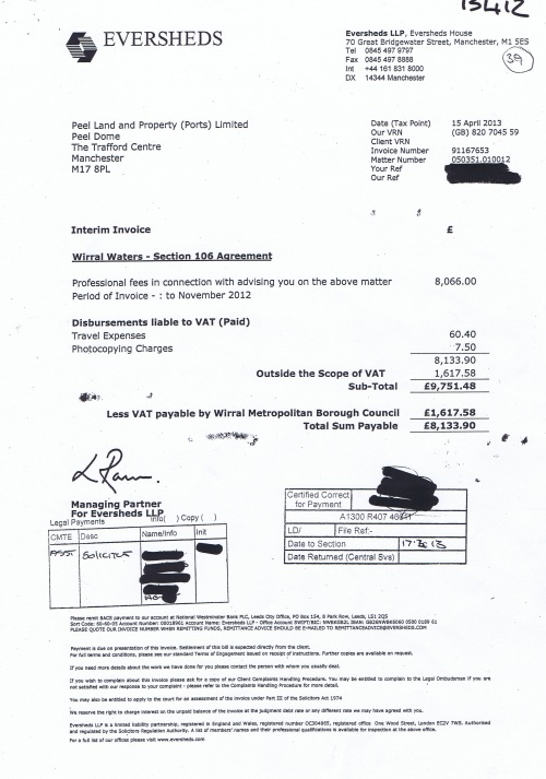 Wirral Waters section 106 agreement interim invoice Peel Land and Property (Ports) Limited 15th April 2013 £9751 48p