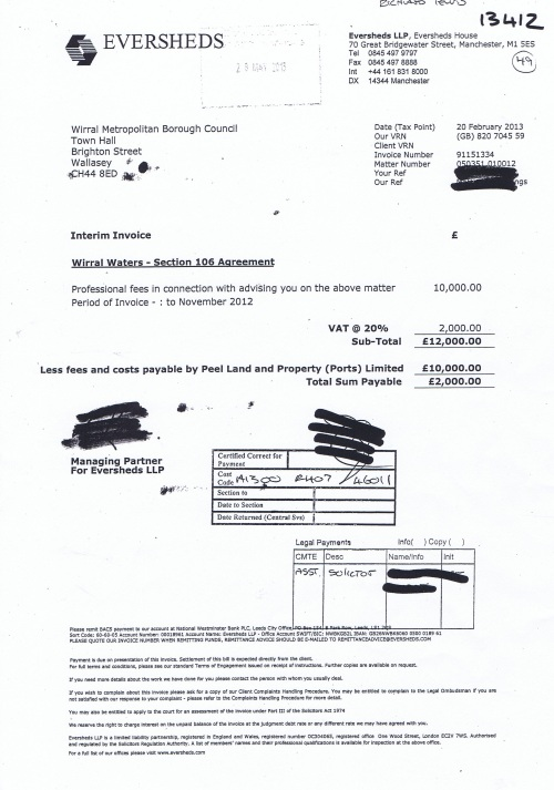 Wirral Waters section 106 agreement interim invoice Wirral Council 20th February 2013 £12000
